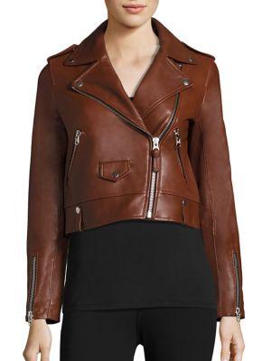 Baya Cropped Leather Moto Jacket