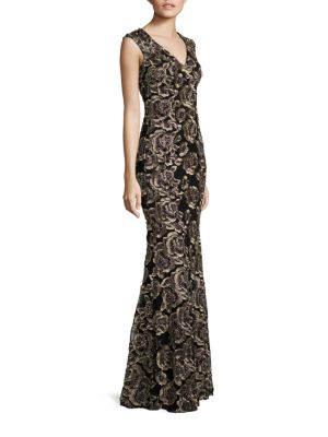 Evening Floral Lace Gown