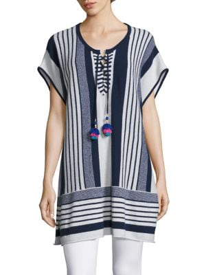 Saerani Striped Cashmere Tunic Sweater by Calypso St. Barth