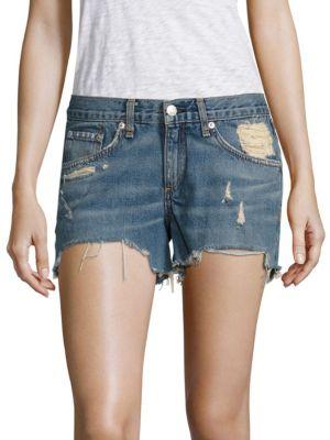 Distressed Cut-Off Denim Shorts/Winnie