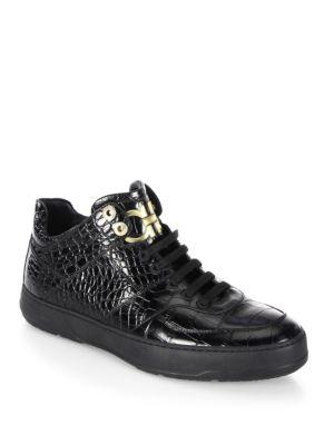 Monroe Mid Top Croc Embossed Calfskin Sneaker