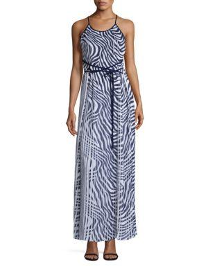 Plains Zebra-Print Pleated Maxi Dress