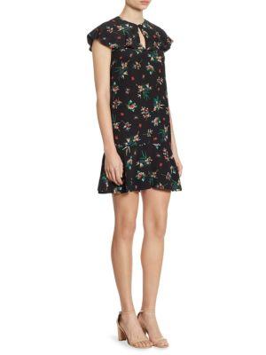 Floral-Print Silk Keyhole Dress