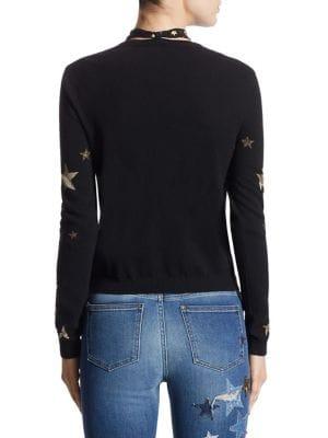 RED VALENTINO Metallic Star-Print Tie-Neck Sweater