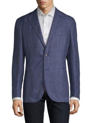 Tonal Plaid Wool-Blend Blazer