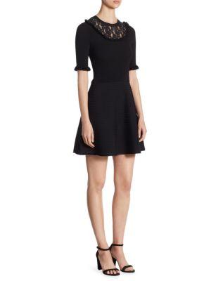 Lace Bib Rib-Knit Dress