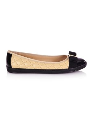 Rufina Quilted Cap Toe Leather Ballet Sneakers