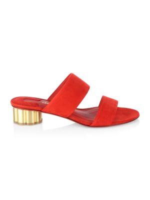 Belluno Flower Heel Suede Slide Sandals