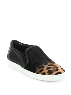 Salina Leopard-Print Calf Hair Skate Sneakers
