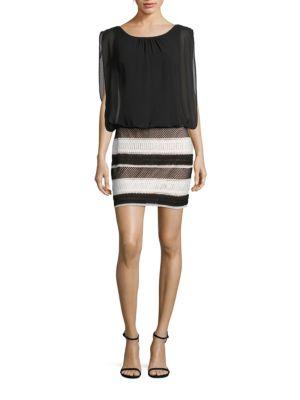 Lace & Chiffon Blouson Dress