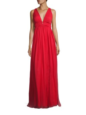 Double V Shirred Silk Gown