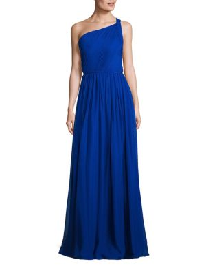 Pleated Silk One Shoulder Gown