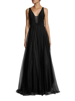 Deep Illusion V-Neck Tulle Gown