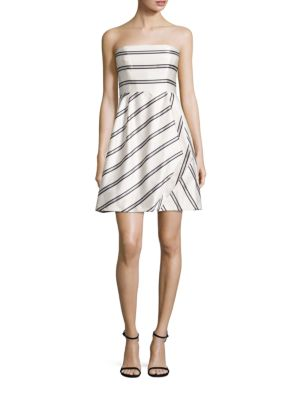 Variegated Stripe Strapless Dress