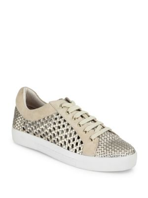 Duha Perforated Woven Metallic Leather Sneakers