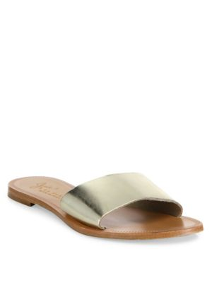 Lacey Metallic Leather Slides