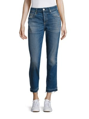 Babe High-Rise Raw Hem Straight-Leg Jeans