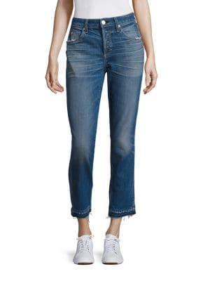 Babe High-Rise Raw Hem Straight-Leg Jeans