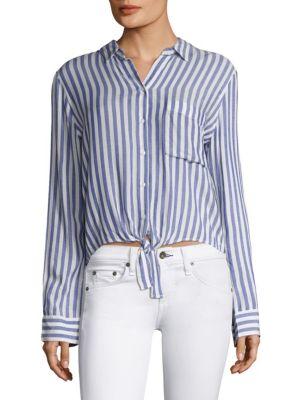 Val Stripe Tie Front Crop Shirt by Rails