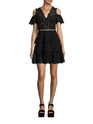 Eliza Cold-Shoulder Silk Lace Dress