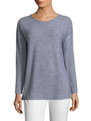 Luxe Merino Boatneck Box Top by Eileen Fisher