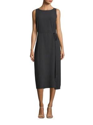 Boatneck Tie-Front Silk Dress