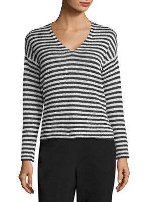 Linen Striped V-Neck Top by Eileen Fisher