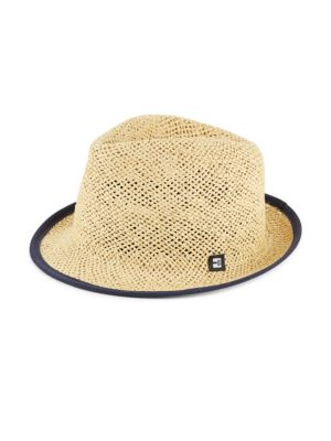 Suede-Tipped Open Weave Straw Trilby