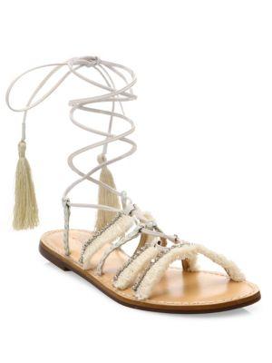 Jolina Embellished Fringe Lace-Up Flat Sandals