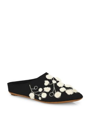 Bea Floral-Embroidered Cashmere Mules