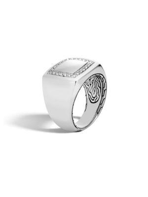 Classic Silver & Diamond Square Ring