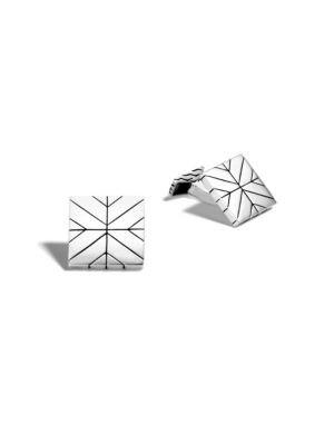 Modern Silver Chain Square Cufflinks