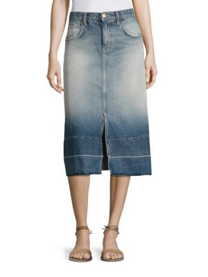 The Slit Denim Midi Skirt