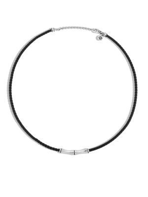 Bamboo Woven Leather Silver Necklace