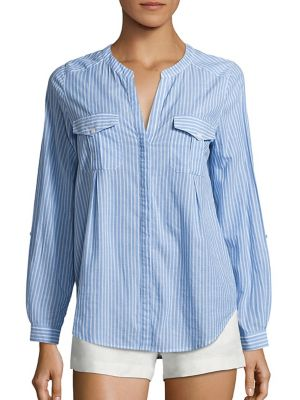 Kalanchoe Striped Chambray Blouse