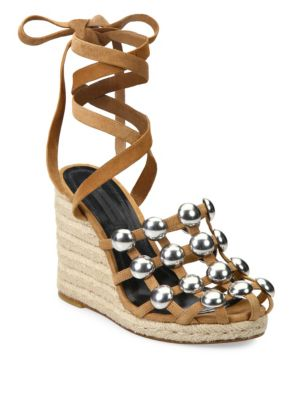 Taylor Studded Suede Lace-Up Espadrille Wedge Sandals