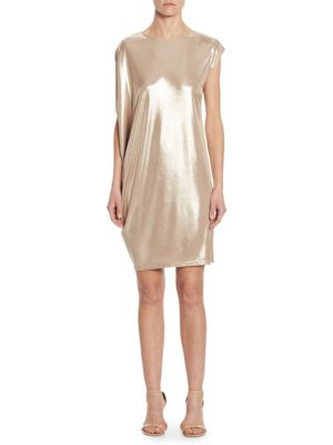 Asymmetrical Metallic Jersey Shift Dress