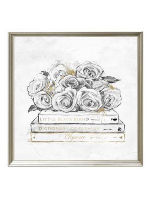 Framed Rose & Books Print