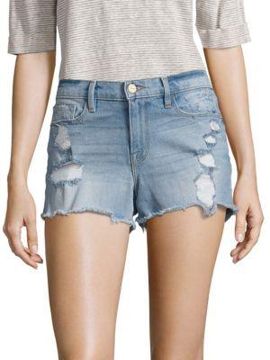 Le Cut-Off Distressed Denim Shorts