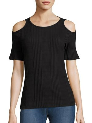 Cold-Shoulder Rib-Knit Tee by FRAME