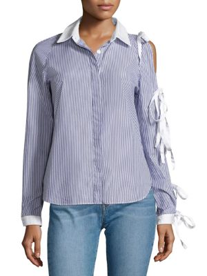 Noah Tie Sleeve Cold Shoulder Shirt by Sandy Liang