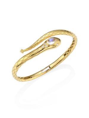 Serpent Bella Diamond, Royal Blue Moonstone & 18K Yellow Gold Bangle