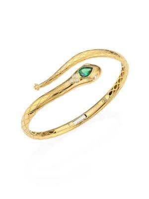 Serpent Bella Diamond, Tsavorite & 18K Yellow Gold Bangle