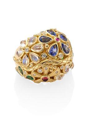 Flower Serpent Diamond & Semi-Precious Multi-Stone Ring