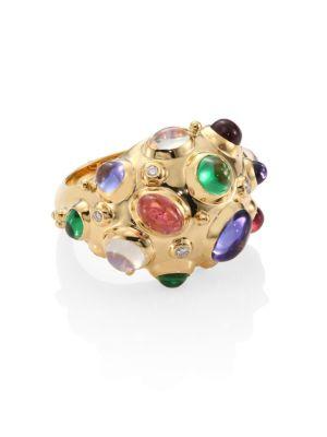 Cosmos Bombe Diamond, Semi-Precious Multi-Stone & 18K Yellow Gold Ring
