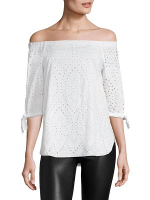 COLLECTION Eyelet Off-the-Shoulder Top by Saks Fifth Avenue