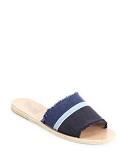 ancient greek sandals taygete denim slides