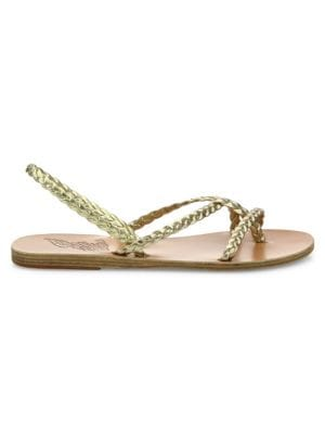 Yianna Braided Vachetta Leather Flat Sandals