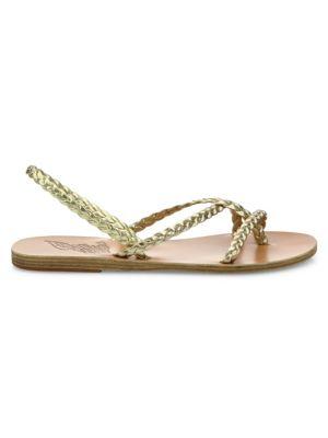 Yianna Braided Vachetta Leather Flat Sandals