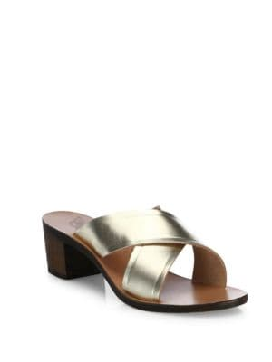 Thais Crisscross Vachetta Leather Slide Sandals